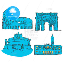 Rome Italy Colored Landmarks