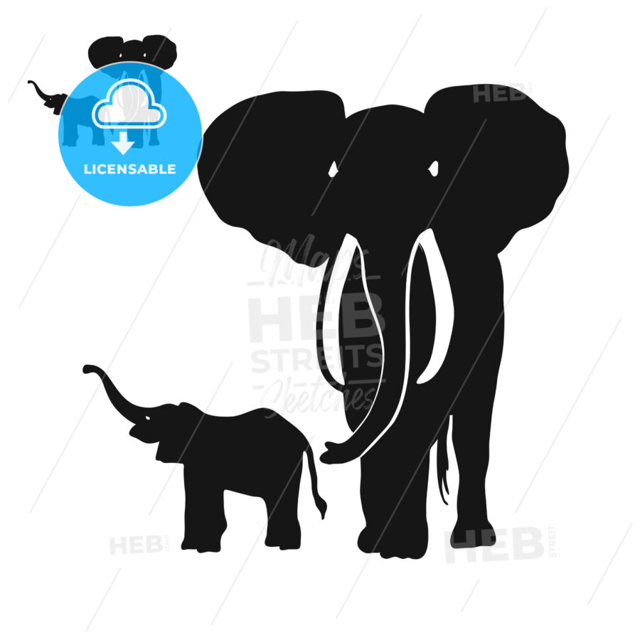 Two Elephants Silhouettes - Hebstreits