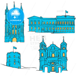 Vilnius Lithuania Colored Landmarks - Hebstreits