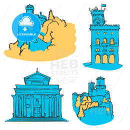 San Marino Colored Landmarks