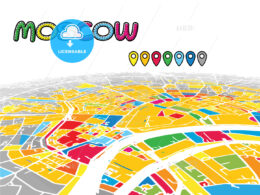 Moscow, Russia, downtown map in perspective