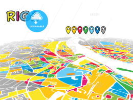 Riga, Latvia, downtown map in perspective