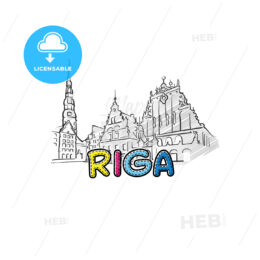 Riga beautiful sketched icon