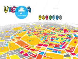 Vienna, Austria, downtown map in perspective