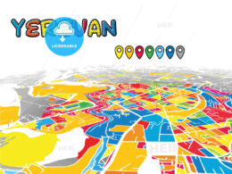 Yerevan, Armenia, downtown map in perspective
