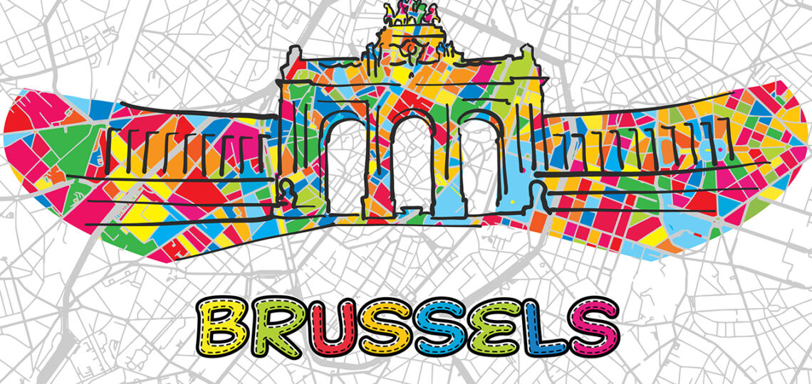 Brussels, Belgium, Colorful Map Sign, print design icon for Wall Art, Gift and Greeting Card