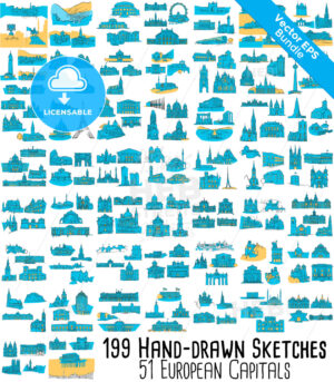 51 European Capitals, 199 Historical colored Landmarks Bundle - HEBSTREITS