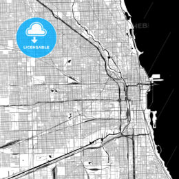 Chicago Monochrome Vector Map
