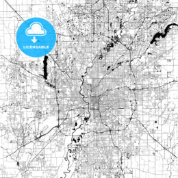 Indianapolis Monochrome Vector Map