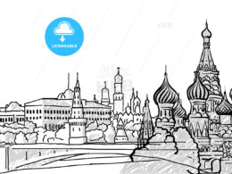 Moscow, Russia famous Travel Sketch