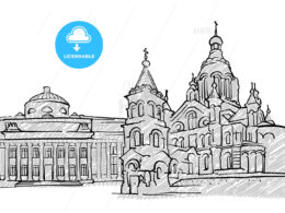 Helsinki, Finland famous Travel Sketch
