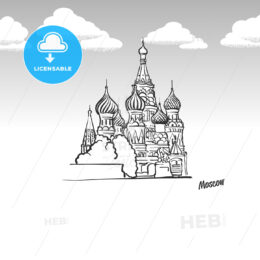 Moscow, Russia famous landmark sketch