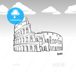 Rome, Italy famous landmark sketch