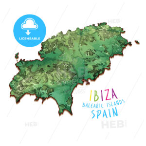 3D Island Map of Ibiza - HEBSTREITS