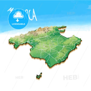 3D Island Map of Majorca - HEBSTREITS