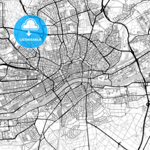 Frankfurt am Main, Germany, vector map with buildings - HEBSTREITS