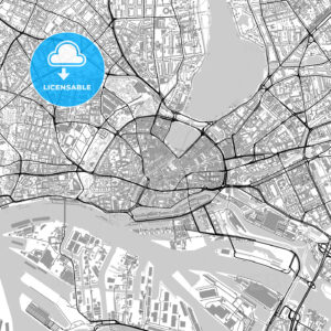 Hamburg downtown vector map with buildings - HEBSTREITS