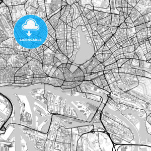Large Hamburg Vector Map with buildings - HEBSTREITS