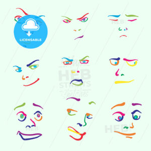 Various colorful drawn faces - HEBSTREITS