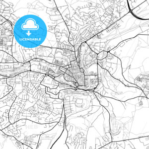 Inner city vector map of Bath - HEBSTREITS