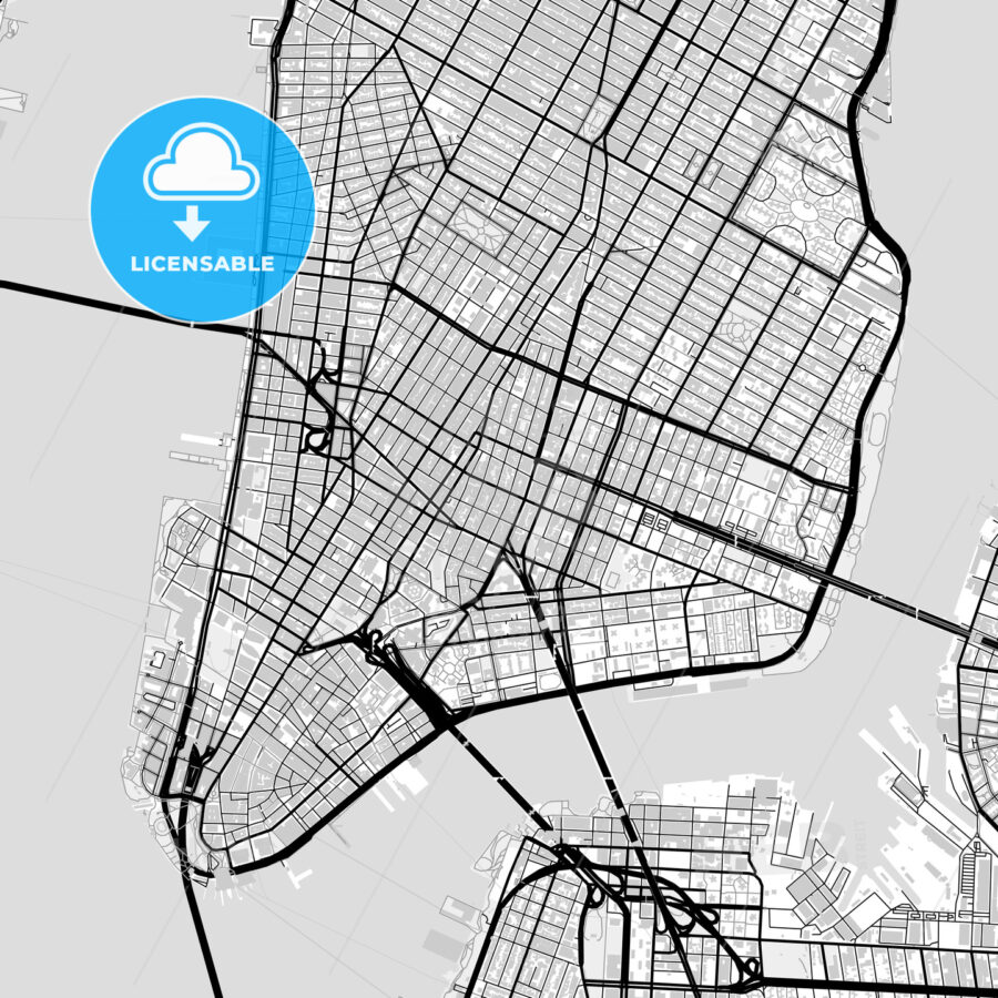 Inner city vector map of Manhattan - HEBSTREITS