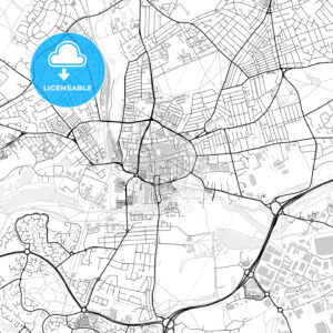 Inner city vector map of Northampton - HEBSTREITS