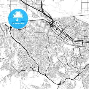 Tijuana, Baja California, Downtown Vector Map - HEBSTREITS