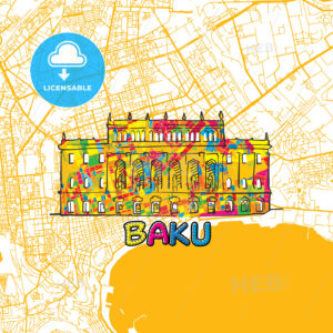 Baku Travel Art Map - HEBSTREITS