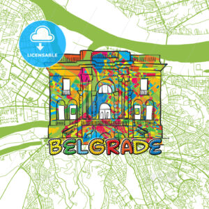 Belgrade Travel Art Map - HEBSTREITS