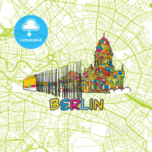 Berlin Travel Art Map - HEBSTREITS