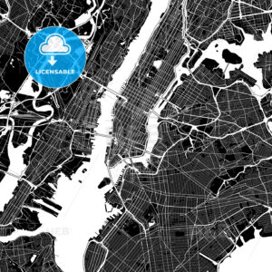 Black and White Area Map of New York City, USA - HEBSTREITS
