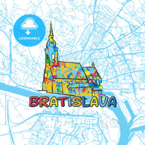 Bratislava Travel Art Map - HEBSTREITS
