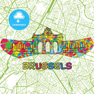 Brussels Travel Art Map - HEBSTREITS