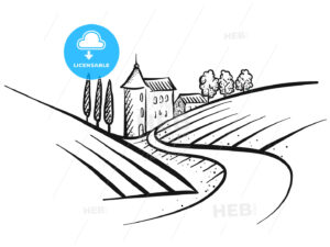 Hand-drawn vector farmland sketch - HEBSTREITS