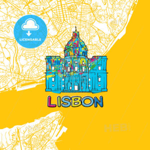 Lisbon Travel Art Map - HEBSTREITS