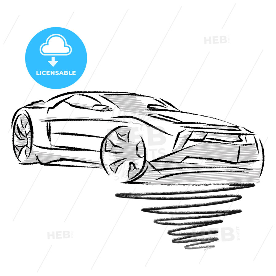 Modern sports car drawing study - HEBSTREITS