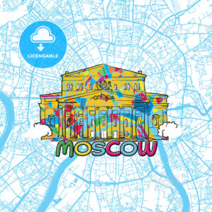 Moscow Travel Art Map - HEBSTREITS