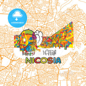 Nicosia Travel Art Map - HEBSTREITS