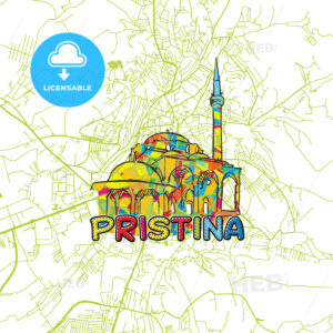 Pristina Travel Art Map - HEBSTREITS
