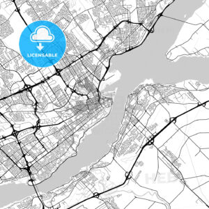 Quebec City, Quebec, Downtown City Map, Light - HEBSTREITS