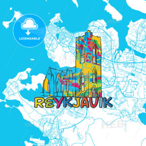 Reykjavik Travel Art Map - HEBSTREITS