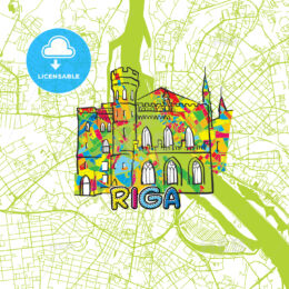 Riga Travel Art Map