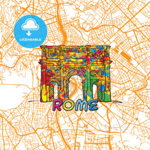 Rome Travel Art Map - HEBSTREITS