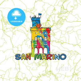 San Marino Travel Art Map