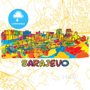 Sarajevo Travel Art Map - HEBSTREITS