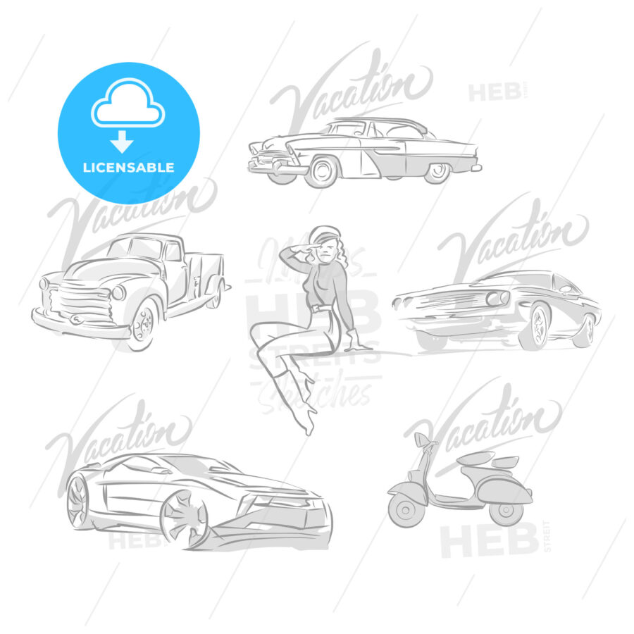 Set of vintage and modern cars drawings - HEBSTREITS