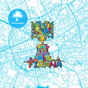 Tirana Travel Art Map - HEBSTREITS