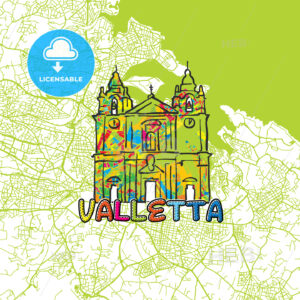 Valletta Travel Art Map - HEBSTREITS