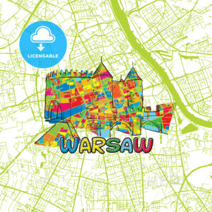 Warsaw Travel Art Map - HEBSTREITS