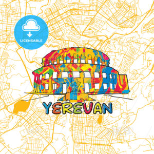 Yerevan Travel Art Map - HEBSTREITS